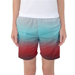 Frosted Blue And Red Women s Basketball Shorts
