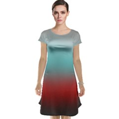 Frosted Blue And Red Cap Sleeve Nightdress