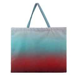 Frosted Blue And Red Zipper Large Tote Bag