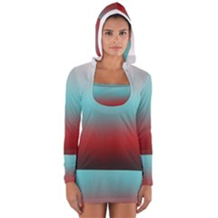 Frosted Blue And Red Long Sleeve Hooded T Shirt