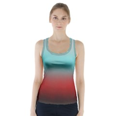 Frosted Blue And Red Racer Back Sports Top