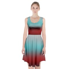 Frosted Blue And Red Racerback Midi Dress