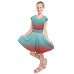 Frosted Blue And Red Kids  Short Sleeve Dress