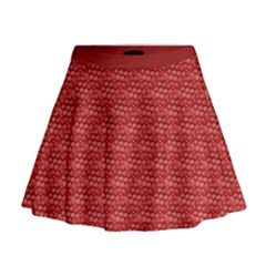 Red Scales Mini Flare Skirt
