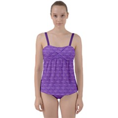 Purple Scales Twist Front Tankini Set