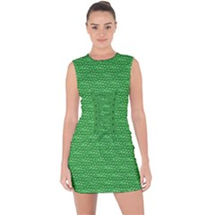 Green Scales Lace Up Front Bodycon Dress