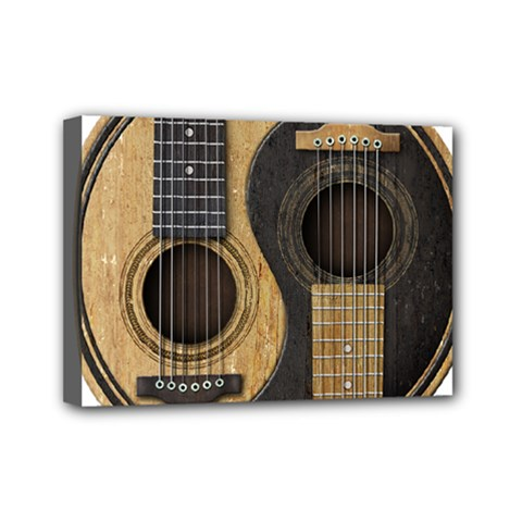 Old And Worn Acoustic Guitars Yin Yang Mini Canvas 7  X 5