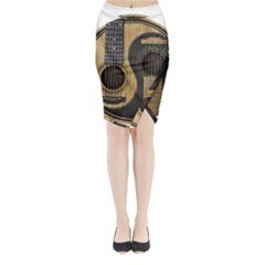 Old And Worn Acoustic Guitars Yin Yang Midi Wrap Pencil Skirt
