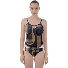 Old And Worn Acoustic Guitars Yin Yang Cut Out Top Tankini Set