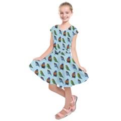 Blue Birds Parrot Pattern Kids  Short Sleeve Dress