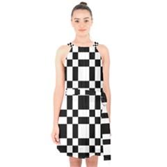 Checkerboard Black And White Halter Collar Waist Tie Chiffon Dress
