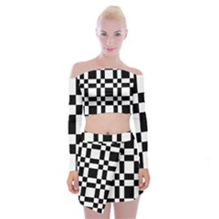 Checkerboard Black And White Off Shoulder Top With Skirt Set