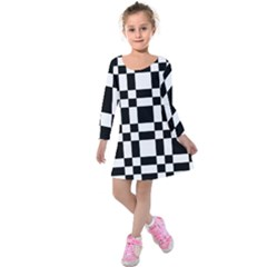 Checkerboard Black And White Kids  Long Sleeve Velvet Dress