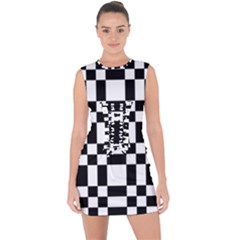 Checkerboard Black And White Lace Up Front Bodycon Dress