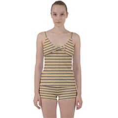 Colored Zig Zag Tie Front Two Piece Tankini