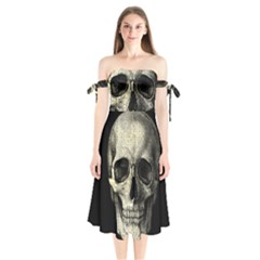 Newspaper Skull Shoulder Tie Bardot Midi Dress