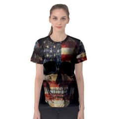 American Flag Skull Women s Sport Mesh Tee