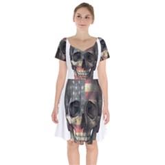 American Flag Skull Short Sleeve Bardot Dress