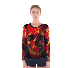 Russian Flag Skull Women s Long Sleeve Tee