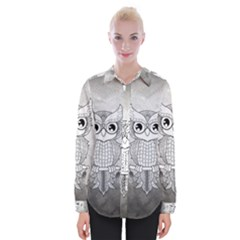 Wonderful Owl, Mandala Design Womens Long Sleeve Shirt