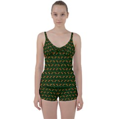 Plants And Flowers Tie Front Two Piece Tankini