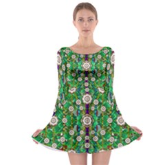 Pearl Flowers In The Glowing Forest Long Sleeve Skater Dress