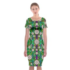 Pearl Flowers In The Glowing Forest Classic Short Sleeve Midi Dress
