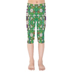 Pearl Flowers In The Glowing Forest Kids  Capri Leggings