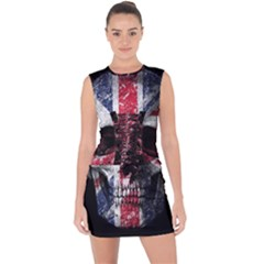 Uk Flag Skull Lace Up Front Bodycon Dress