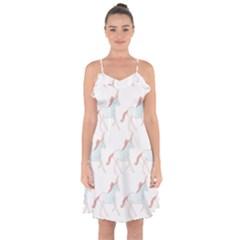Unicorn Pattern Ruffle Detail Chiffon Dress
