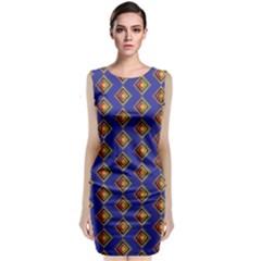 Blue Geometric Losangle Pattern Classic Sleeveless Midi Dress