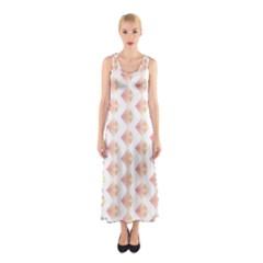 Geometric Losangle Pattern Rosy Sleeveless Maxi Dress
