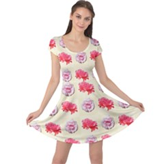 Yellow Floral Roses Pattern Cap Sleeve Dresses