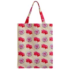 Yellow Floral Roses Pattern Zipper Classic Tote Bag