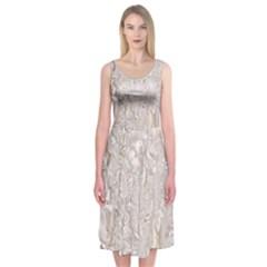 Off White Lace Pattern Midi Sleeveless Dress