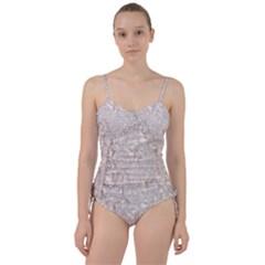 Off White Lace Pattern Sweetheart Tankini Set