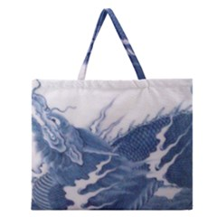 Blue Chinese Dragon Zipper Large Tote Bag