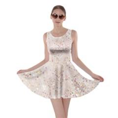White Sparkle Glitter Pattern Skater Dress