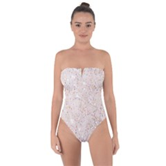 White Sparkle Glitter Pattern Tie Back One Piece Swimsuit