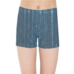 Blue Sparkly Sequin Texture Kids Sports Shorts