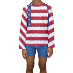 Flag Of The United States America Kids  Long Sleeve Swimwear