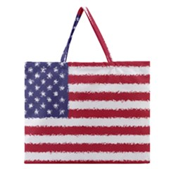 Flag Of The United States America Zipper Large Tote Bag