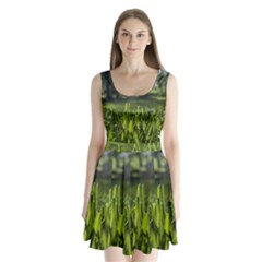 Green Grass Field Split Back Mini Dress