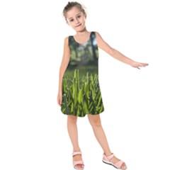 Green Grass Field Kids  Sleeveless Dress