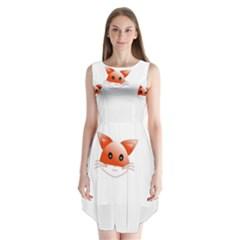Animal Image Fox Sleeveless Chiffon Dress