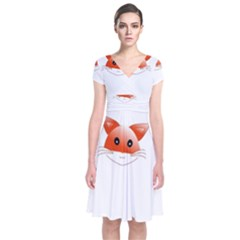 Animal Image Fox Short Sleeve Front Wrap Dress