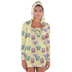 Animals Pastel Children Colorful Long Sleeve Hooded T Shirt