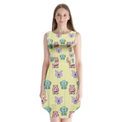 Animals Pastel Children Colorful Sleeveless Chiffon Dress