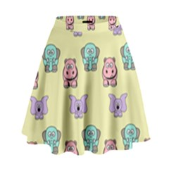 Animals Pastel Children Colorful High Waist Skirt