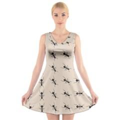Ants Pattern V Neck Sleeveless Skater Dress